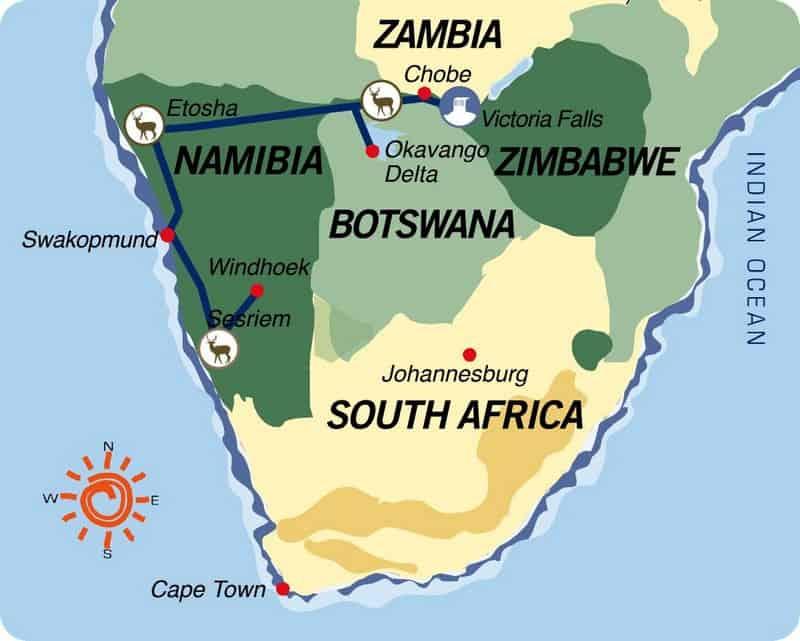 Namíbia-Botswana-Zimbabwe: Do Deserto Namibe às Cataratas Vitória (versão dormida em lodge)