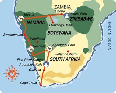 África do Sul-Namíbia-Botswana-Zimbabwe: Grande Travessia do Kalahari (versão a acampar)