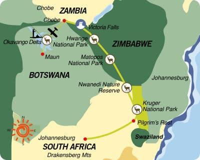 África do Sul-Zimbabwe-Botsuana: Do Parque Kruger às Cataratas Victoria